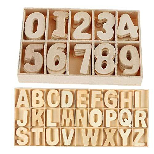 Letras de Madera de Madera Natural Números alfabetos Mayúsculas de artesanía de la decoración DIY con la Caja para el Partido del hogar de 216pcs