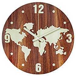 BEW Luminous Wall Clock, Chic Map Illuminated Decorative Wall Clock Glow in Dark, Silent Battery Operated Night Light Wooden Wall Clock for Kids Bedroom, Living Room, Dining Room, Kitchen - 12 Inch