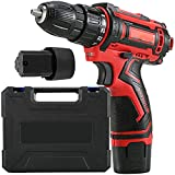 EastMetal Cordless Drill, Destornillador Inalámbrico Compacto con 2 Baterías, Destornillador Eléctrico 25 + 1 Conmutación de Avance/Retroceso de 2 Velocidades 3/8', para DIY, Taladrado12V