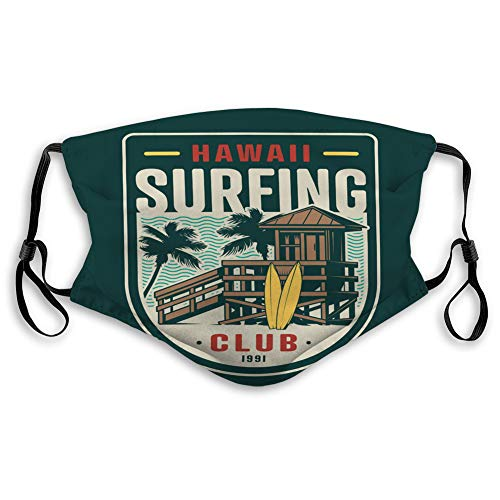 Safety Shield Reusable Outdoor Covers Vintage surfing club badge Sports Shield