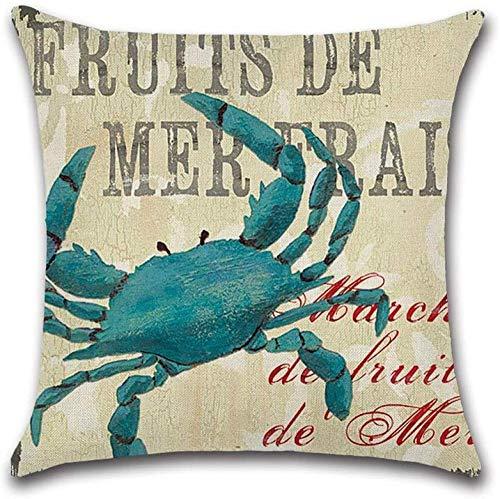 LILAODA Kissen Baumwolle bequemes Material Stoff Meerestiere Krabben Hummer Thema bedrucktes Sofa 45x45cm (Farbe: B)-EIN Perfect