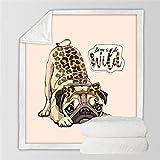 Cobija,Ropa De Cama Cálida Manta De Impresión 3D De Leopardo, Animal, Perro, Esponjoso Suave Felpa Doble Tiro Manta, Sherpa Franela Felpa Manta Para Cubrir Sofá Cama,51.18×59.05 En(130×150 Cm)
