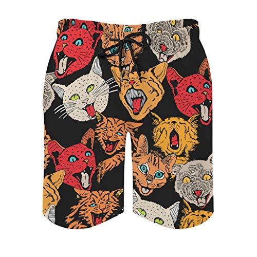 Ballbollbll Pantalones cortos coloridos para hombre, con bolsillos con cremallera, para surf, casual, verano, playa, transpirables, con forro de malla