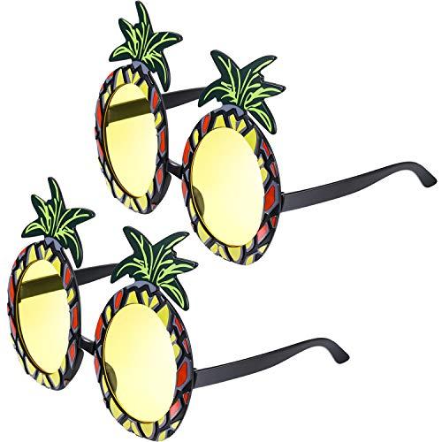 Blulu 2 Pares de Gafas de Piña Gafas de Fiesta en Forma de Piña Gafas de Sol Tropicales Hawaianas para Accesorios de Fiesta Foto Props Temáticos