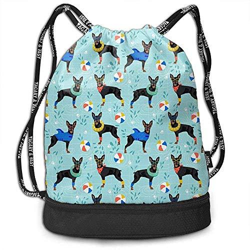 1Zlr2a0IG Drawstring Backpack Miniature Pinscher Pool Sports Gym Travel Bag