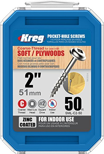 KREG - SML-C2-50 Kreg SML-C2 2-Inch Washer Head #8 Coarse Pocket Screws, 50 Count Zinc