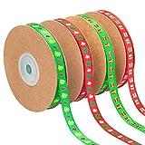 MELLIEX 91 Metri Nastro Natalizio, 4 Rotoli Nastro Raso Natale per Decorazioni Natalizie Confezioni Regalo Artigianali
