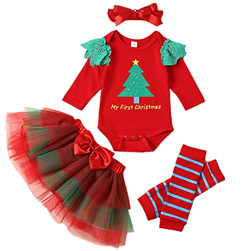 Christmas Baby Outfit My First Christmas Baby Girl Top Romper + Tutu Skirt + Leg Warmers + Headband 4PC Clothes Set 6-9 Months Red