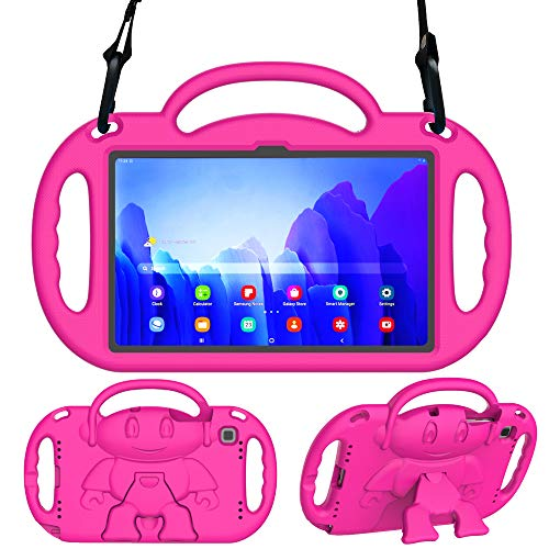 Surom Kids Case for Samsung Galaxy Tab A7 10.4' 2020 (Model SM-T500/T505/T507), Light Weight Shock Proof Kids Friendly Handle Stand with Shoulder Strap for Tab A7 10.4 Inch 2020, Rose Pink