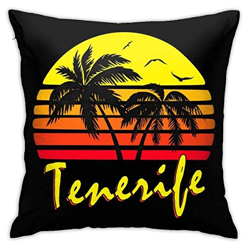 NotApplicable Throw Pillow Covers Tenerife Vintage Sun 45X45Cm Funda De Almohada Decorativa Acogedora Fundas De Almohada para El Hogar Cojines del Sofá Cama Sofá Sofá Personalizado Cremallera Du