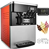 Happybuy Commercial Soft Ice Cream Machine 5.3-7.4Gallons/H 3 Flavors Perfect for Restaurants Snack Bar Supermarkets, 2200W, M-826