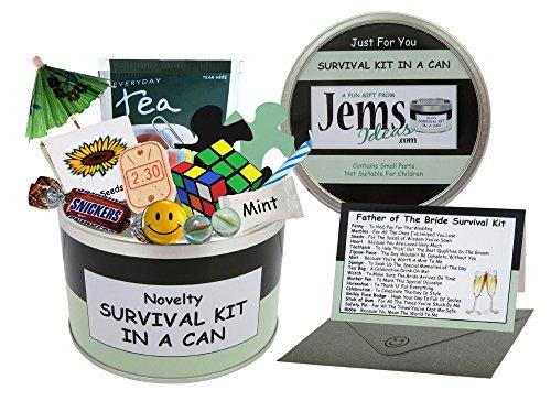Survival Kit In A Can Father of the Bride Humorvolles Geschenk – Hochzeitstag Dankeschön Geschenk Vatergeschenk und Karte in einem. Personalisierbare Farbe, Schwarz/Mint, 10 x 6 cm