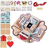 WONDER BOX Caja Sorpresa - Scrapbook DIY Creative Photo Gift - Photo Explosion Box Gift Box Cumpleaños, Bodas, Compromiso, Navidad - Álbum de Fotos Plegable (Fondo de mármol)