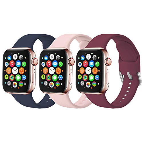 Sichy Straps Compatible with Apple Watch Strap 38mm 42mm 40mm 44mm, Soft Silicone Replacement Strap Compatible with iWatch Series 6,5, 4, 3, 2, 1, SE, 3 Pack-38mm 40mm S/M
