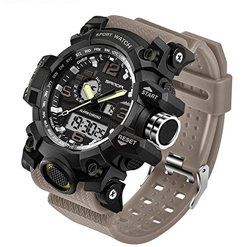 Mens Quartz Wristwatches Dual Display Analog Digital LED Electronic Clock Waterproof G Style Military Sport Male Watches