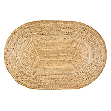 VHC Brands Coastal Farmhouse Flooring - Natural Jute Tan Oval Rug, 4' x 6'