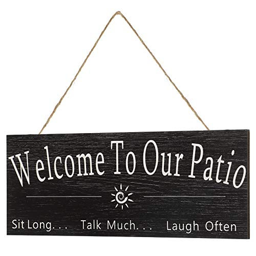 Jetec Welcome to Our Patio Sign, Rustic Wooden Welcome to Our Patio Wall Decor, Vintage Style Welcome to Our Patio Sign for Indoor, Outdoor, Front Door Patio Porch Pool and Garden Decor (Black)
