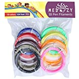 MeDoozy 3D pen filament refills - PCL filament 1.75mm - eco-friendly 3D filament - non-toxic 3D printer filament - odorless 3D printing filament - kids safe 3D pen refill - 10 colors 16.4 feet each