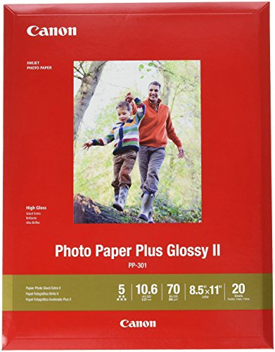 "Canon 1432C003 Photo Paper Plus Glossy II 8.5"" x 11"" 20 Sheets"