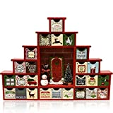 """Christmas Wooden Advent Calendar Countdown 12"""" Holiday Scene Diorama With 24 Drawers Wood Construction Unique Holiday Calendars Red Green Decor Xmas Decoration Diy Reusable Fillable Advents Calendar"""