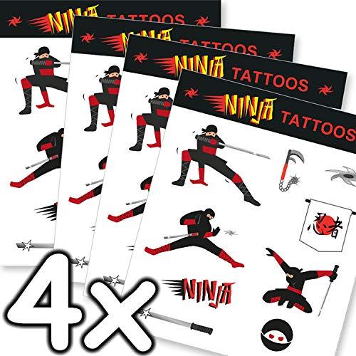 Mega-Tattoo-Set * Ninja * als Mitgebsel, Geschenk oder zum Spielen | 4 Bögen mit 36 Tattoos | Karate Judo Aufkleber Bilder Sticker Kinder Kindergeburtstag Geburtstag