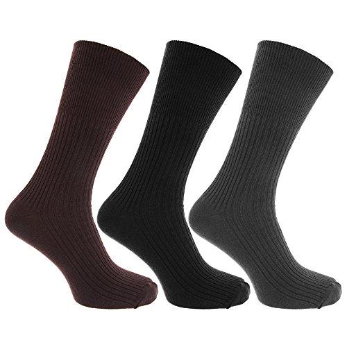 Textiles Universels Chaussettes à dessus non-élastiqué (lot de 3 paires) - Homme (39-45 EUR) (Gris/Marron/Noir)