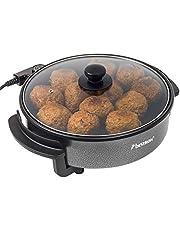 Bestron AHP1200 elektrische partypan met glazedeckel, snackpan met antiaanbaklaag, 1500W, zwart, ø 28,5 cm
