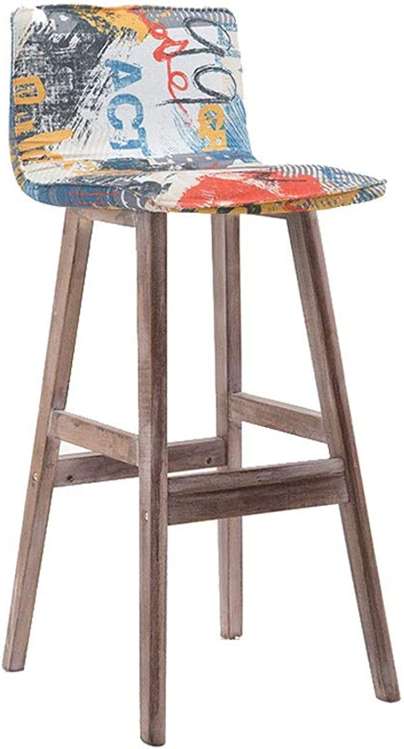 Bar Chair with Backrest, High-Elastic Sponge-Filled Wooden Step Stool Natural Wood Grain High Chair - 2 color Legs-3 Styles (color   Brown Legs, Size   A)