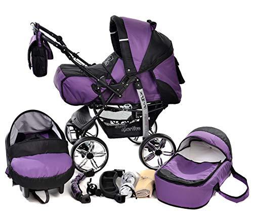 Kamil - Landau pour bébé + Siège Auto - Poussette - Système 3en1, incluant sac à langer et protection pluie et moustique - ROUES NON PIVOTABLES (Système 3en1, violet, noir)