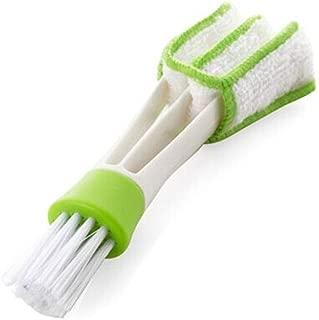 yueton Double Ended Mini Dust Blind Cleaner, Car Vent Brush, Window Blind Brush, Hand Held Magic Brush Blind Duster for House, Car, Office, White and Green