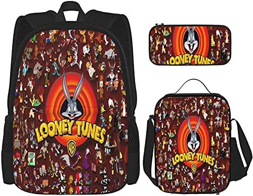 Loo-Ney T-Unes - Juego de mochila escolar, 3 piezas, diseño de dibujos animados, mochila con fiambrera a juego + monedero/estuche, Negro , talla única,