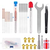 Glarks 29Pcs 3D Printer Nozzle with Nozzle Replacement and Cleaning Tool Kit, Including 0.2mm,0.3mm, 0.4mm, 0.5mm, 0.6mm, 0.8mm Extruder Head Nozzle, Cleaning Needle, Nozzle Change Tool, Tweezer