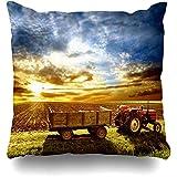 Asekngvo Cojines Fundas Granja Agricultura Paisajismo Tractor Campo Puesta de Sol Verano Cereal Cultura nublada Decoración para el hogar Funda d