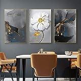 Cuadro moderno con diseño de flores de plantas en lienzo abstracto, lámina dorada, para sala de estar, póster nórdico, decoración escandinava, 50 x 70 cm, sin marco