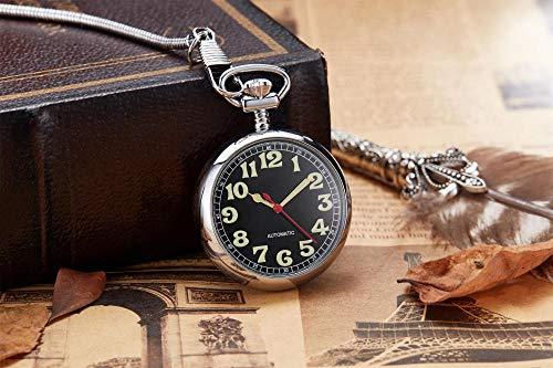 YXXERSHI Antiguo Reloj de Bolsillo mecánico de Cobre Retro Plata mecánica Cadena de Precios Offshore Collar Reloj Masculino Regalo-Plata