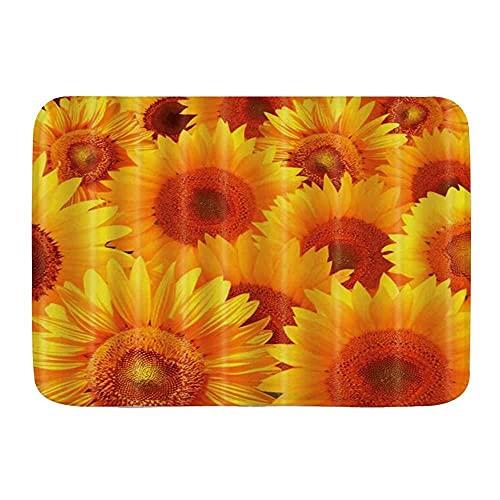 Felpudo de girasol, color amarillo, de primavera, rústico, planta de granja, cocina, piso, alfombra de baño, absorbente para interiores y baño, A1_50 x 80 cm_CN