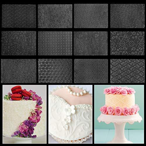 BELLE VOUS Fondant Prägematten (12 STK) - 25,4x17,8cm Strukturmatte für Tortendeko mit 12 Verschiedenen Designs Prägematte mit Silikonmatte Schablonen für Torte, Cupcakes, Kekse, Backzubehör
