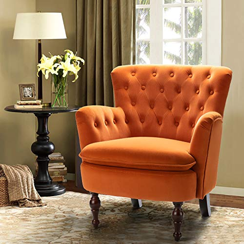 Orange Velvet Tufted Arm Chair/Isabella Small Accent Chair for Lving Room Bedroom - Orange