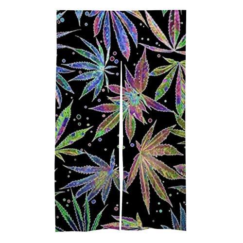 ZGPOJNDKI - Tende oscuranti per finestre da 80 x 150 cm, isolanti per la casa, per caffè, sala da pranzo, cucina, camera da letto, vaso colorato al neon con foglie erbacce