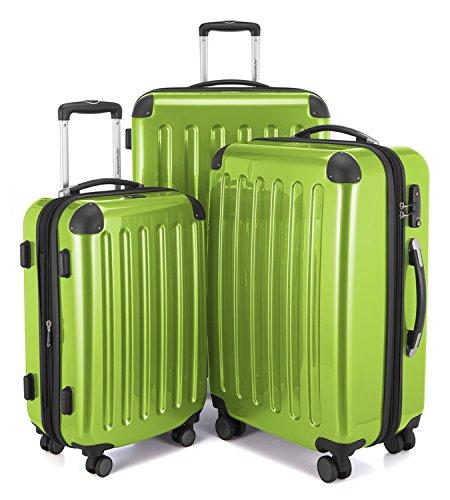 HAUPTSTADTKOFFER - Alex - 3er Koffer-Set Trolley-Set Rollkoffer Reisekoffer Erweiterbar, 4 Rollen, TSA, (S, M & L), Apfelgrün
