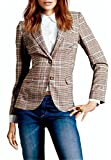SHUIANGRAN Women Plaid Blazer Plaid Elbow Patches Two Button Slim Fit Blazer Suit Casual Basic Jacket US 14