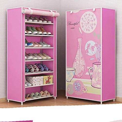 Multi-capa simple gabinete de zapatos DIY montado ahorro de espacio organizador estante hogar dormitorio almacenamiento armario a prueba de polvo zapatos Rack-Q, China