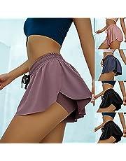 LUDAXUE Womens Running Shorts 2 IN1 Seco rápido Entrenamiento de Yoga Athletic Gym Shorts Atlético Corto rápido Gimnasio Corto Shorts s-XXXXL (Color : Rojo, tamaño : X-Large)