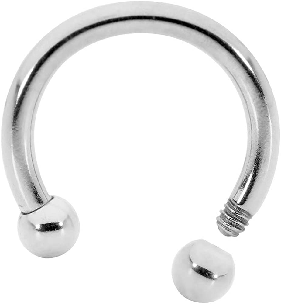 365 Sleepers Solid 316L Surgical Steel Circular Horseshoe Barbell 20G-18G-16G-14G-12G-10G-8G-6G-4G-2G – Sold Individually