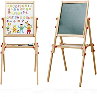 Children's Easel Double-Sided Magnetic Drawing Board for Kids Adjustable Height Wooden Art Easel Suitable for Painting Lea...