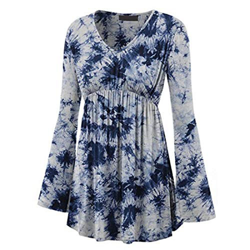 Z&Y Glaa Womens Shirts Tunic Tops Button Casual Long Sleeve T-Shirts Long Sleeve Neck Button Floral Printed Swing Casual Top Casual V Neck Pleated Tunic Tops Shirts Blouse