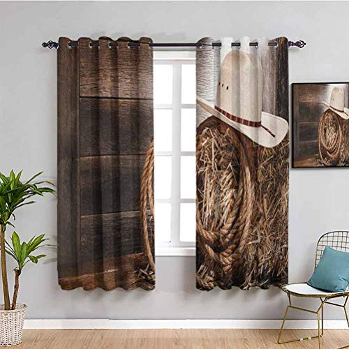 SONGDAYONE Western Black out window curtain 2 panel, Curtains 45 inch length for Living Room or Bedroom Brown Beige W63 x L45 Inch