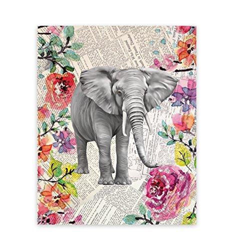 Elephant Decor, Elephant Upcycled Like Vintage Dictionary 11x14 Art Print, Elephant Picture on Newspaper, Elephant Art, Elephant Watercolor, Fine Art Print, Watercolor, Elephant Wall, Elephant Art