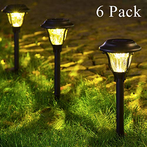 GIGALUMI Solar Pathway Lights Outdoor, Wireless LED Solar Garden Lights, Waterproof Solar Path Lights for Outdoor Patio, Yard, Walkway, Lawn. (6 Pack)