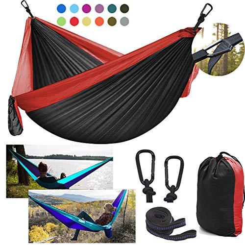 DDSGG Hamaca Ultraligera para Viaje y Camping 300x200cm, Hamacas de paracaídas de Nylon para 2 Personas Capacidad de Carga de 300 kg para Viajes, Playa, Senderismo,Black Red